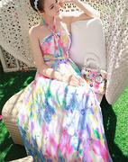 Đầm maxi cổ yếm