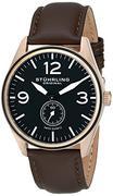 Đồng hồ nam Stuhrling Original 931.03 Aviator Swiss Quartz Seconds Subdial Rose Tone Brown