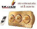 Đèn sưởi nhà tắm Heizen 3 bóng vàng HE3BR (có điều khiển từ xa)