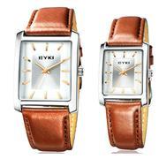 Đồng hồ đôi Eyki EET8618GL mặt vuông dây da nâu