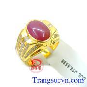 Nhẫn nam ruby đá quý vàng 14k đẹp