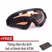 Mắt kính đi phượt chống bụi, chống tia UV (gọng Đen, kính cam) + Tặng dao du lịch đa năng hình thẻ A...