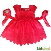 Đầm voan đỏ đính hoa hồng AD127