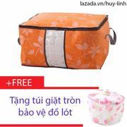 Túi đựng chăn màn quần áo có họa tiết ( Cam ) + Free túi giặt tròn bảo vệ đồ lót