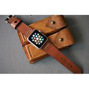 Dây đồng hồ da thật Handmade cho Apple Watch ( 38mm và 42mm ) – Mẫu DC08-D60-chỉ gold