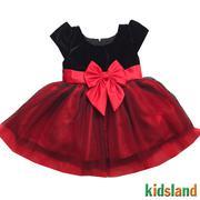 Đầm voan đỏ phối nhung đen AD151