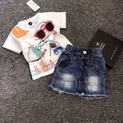 Bộ áo trắng mắt kính váy jean bé gái- QABO171 (Trắng,jeans)