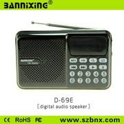Máy nghe nhạc đa năng USB, thẻ nhớ, đài FM Bannixing D-69E (ĐEN)