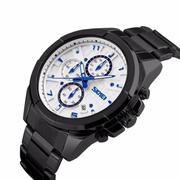 Đồng hồ nam dây inox ĐEN cao cấp SKMEI DHSK9109A( Mặt trắng)