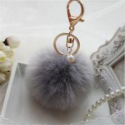 Rabbit Fur Key Ring Cell Phone Ball PomPom Handbag Pendant Charm Car Keychain - Intl