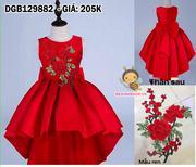 Đầm phi mullet thêu hoa ren nơ to dễ thương cho bé gái 1 - 10 tuổi DGB129882