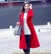 Áo khoác dạ nữ phối túi màu đỏ kiêu sa sang trọng AKMT225