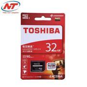 Thẻ nhớ MicroSDHC Toshiba Exceria U3 32GB 90MB/s kèm Adaper (Đỏ)