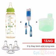 Combo Bình sữa UPASS cổ thường 240ml PES - Xanh lá + 1 cọ rửa bình sữa và núm ty + 1 hộp chia sữa 3 ...