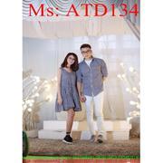 Sét đồ đôi áo sơ mi và đầm xòe xếp ly caro nhuyễn xinh đẹp ATD134 - ATD134newwwrrd