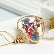 Fashion New Jewelry Romantic Transparent Crystal Glass Heart Shape Floating Locket Dried Flower Plan...