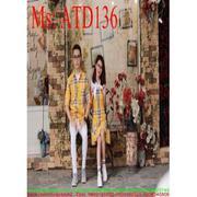 Sét đồ đôi áo sơ mi và đầm suông sọc màu nổi bật ATD136