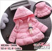 KG306 Áo phao hồng ngực gắn thỏ cho bé gái 8-14kg, sz 6-12