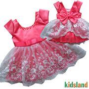 Đầm voan bé gái tà xéo hồng dâu AD138