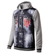 áo hoodie phối túi hình cờ mỹ