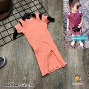 Đầm thun gân khoét vai xẽ tà dễ thương cho bé gái 1 - 8 tuổi DGB129887