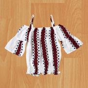 Áo bé gái kiểu 2 dây sọc nâu trắng Nexxi size từ 7kg đến 17kg