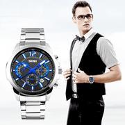 Đồng hồ nam SKMEI 9108 (Dây bạc mặt đen)