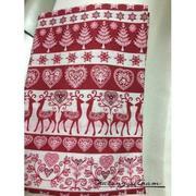 Vải thô họa tiết hươu màu đỏ