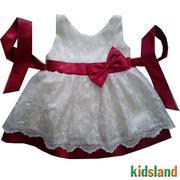 Đầm voan trắng kết nơ đỏ AD132
