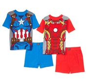 Red & Blue Marvel Avengers Four-Piece Pajama Set - Boys  size 10t