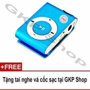 Máy nghe nhạc MP3 hỗ trợ thẻ nhớ - Xanh dương, Tặng tai nghe và cốc sạc