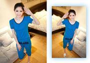 Bộ đồ nữ màu xanh lưng cột dây-MB252