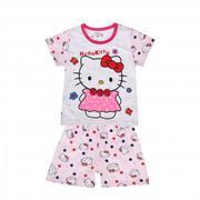 Bộ quần áo cộc tay cotton Lei in hình chú mèo đáng yêu