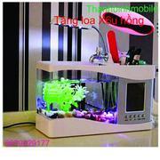 Bể cá mini phong thủy cho bàn làm việc (trắng) + Loa X6u (Hồng)