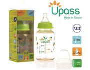 Bình  sữa  P.E.S  cổ  thường 120ml  không  BPA,  có  núm  ti silicon siêu mềm chống sặc màu cam - UP...