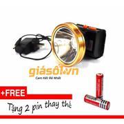 Đèn pin đeo trán,đội đầu bóng LED siêu sáng chống nước + tặng 2 pin thay thế