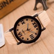 Roman Numerals Wood Leather Band Analog Quartz Vogue Wrist Watches