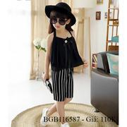 Bộ áo voan hai dây quần ống rộng dễ thương cho bé gái 1 - 7 tuổi BGB116586
