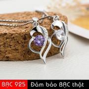 Dây chuyền nữ bạc S925 tình yêu trái tim đào đính đá Zircon lấp lánh SN-YLH1102(Trắng)