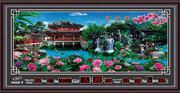 Đồng hồ tranh cảnh viền 7 màu, Vườn hoàng cung- DH719