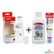 Combo Bình sữa Pigeon thủy tinh 120ml cổ chuẩn nội địa + Nước rửa bình sữa chai Pigeon 200ml + Cọ rử...