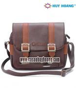 Túi xách phối viền Huy Hoàng 2 khóa màu nâu - HH6164