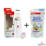 Combo Bình sữa Pigeon thủy tinh 200ml cổ chuẩn nội địa + Nước rửa bình sữa chai Pigeon 450ml + Cọ rử...