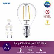 (Mua 4 tặng 1) Bóng đèn Philips LED Fila 2.3W 2700K đuôi E14 P45 - Ánh sáng vàng