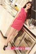Váy đầm xếp ly màu hồng