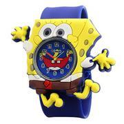 Đồng Hồ Trẻ Em Dây Plastic Guote TIKI-027 Hình Bọt Biển SpongeBob - Xanh