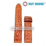 Dây đồng hồ da cá sấu Huy Hoàng màu vàng HH8203