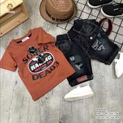 [SIZE ĐẠI] Set áo thun in logo đại bàng quần jean wash rách dễ thương cho bé trai 10 - 15 Tuổi BTB16...