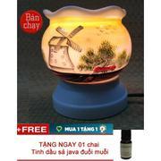 Đèn trang trí và xông tinh dầu điện vẽ cối xay gió AT27 + Tặng tinh dầu tràm gió đuổi muỗi
