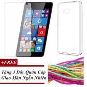 Combo Ốp Lưng Dẻo Silicon Dành Cho Microsoft Lumia 640 + Kính Cường Lực + Tặng 3 Dây Quấn (Màu Ngẫu ...